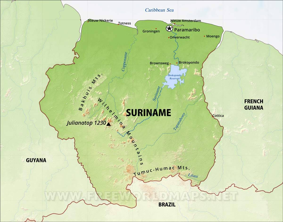 Map Of Suriname Suriname Physical Map
