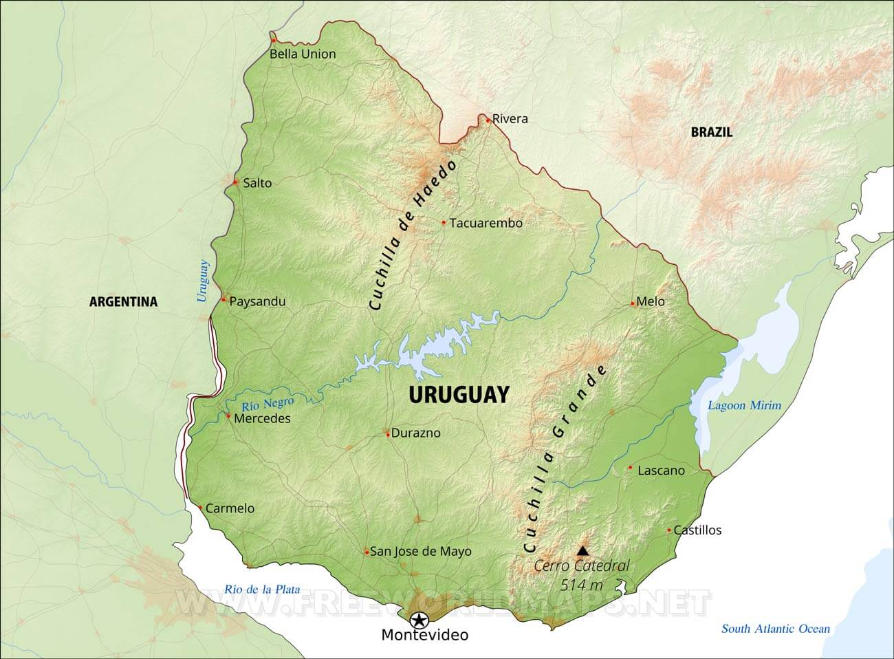 Uruguay Physical Map