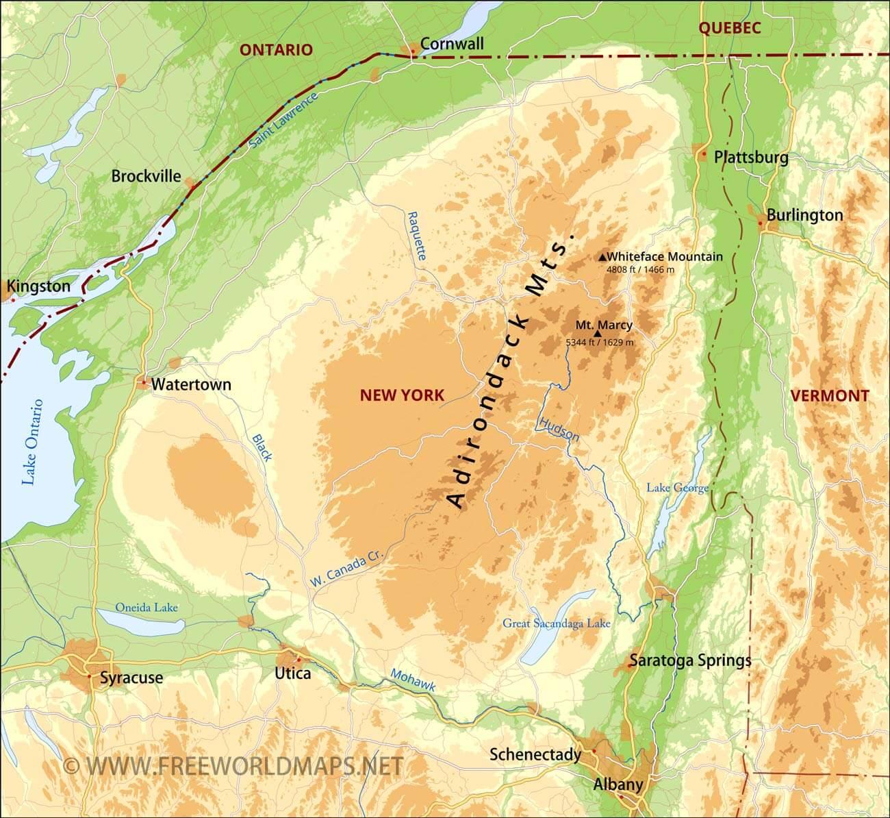 Adirondack Mountains On Us Map Adirondack Mountains Maps