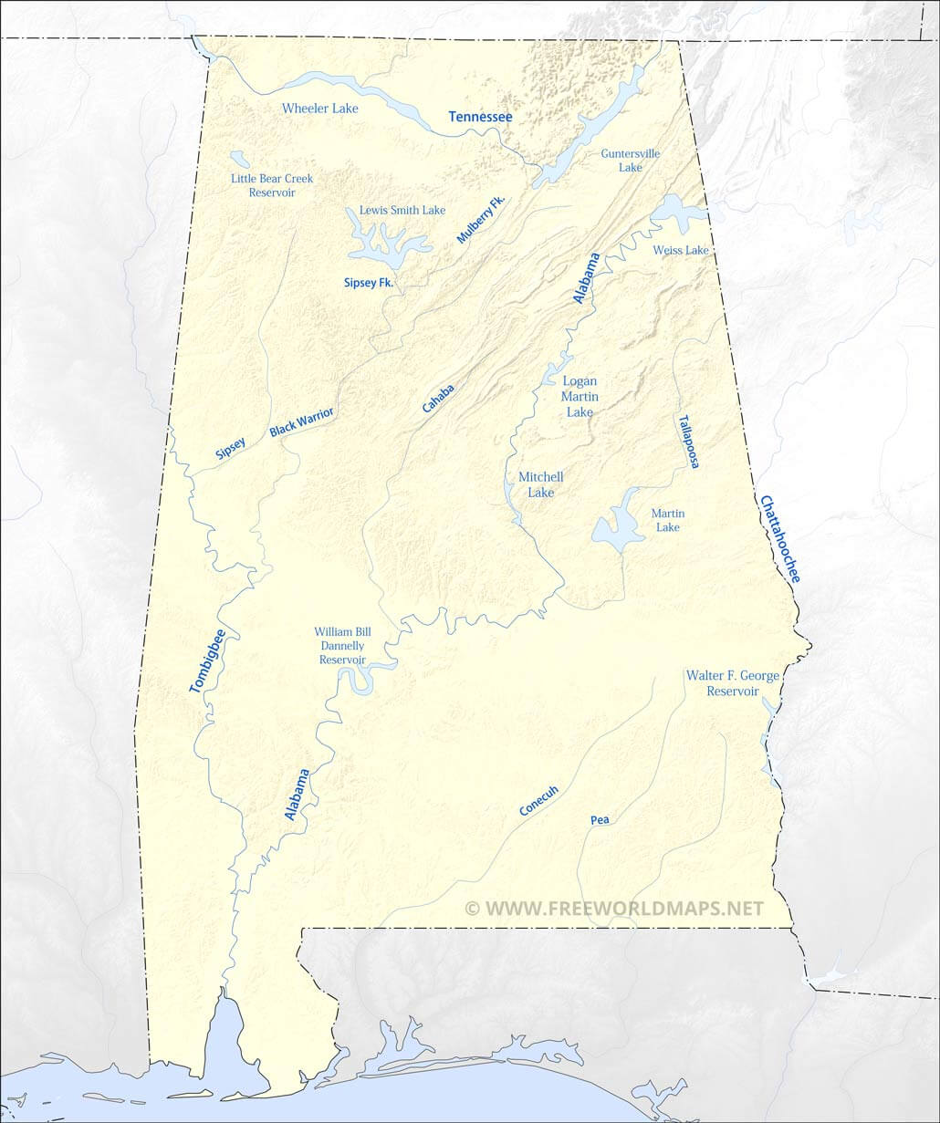 alabama lakes and rivers map Physical Map Of Alabama alabama lakes and rivers map