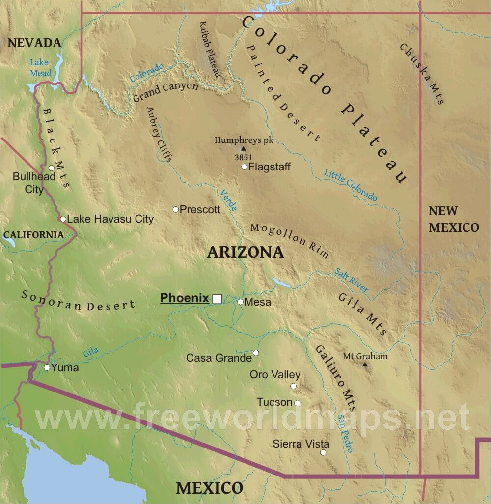 Picture of: Physical Map Of Arizona