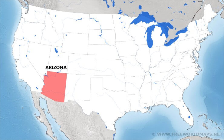 where is arizona located on the map