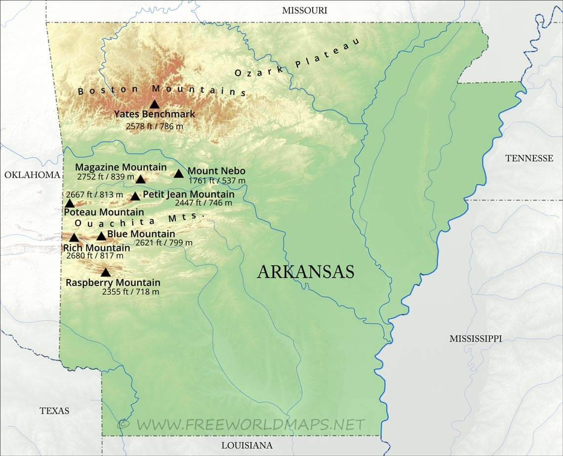 Physical map of Arkansas on