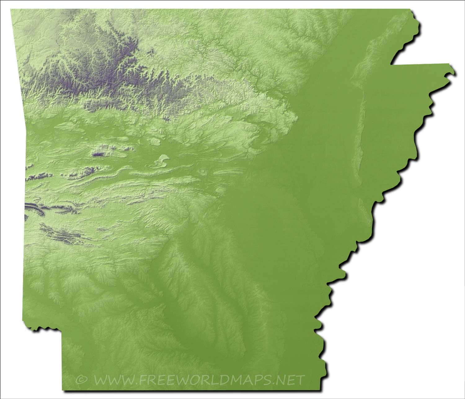 Image of: Physical Map Of Arkansas