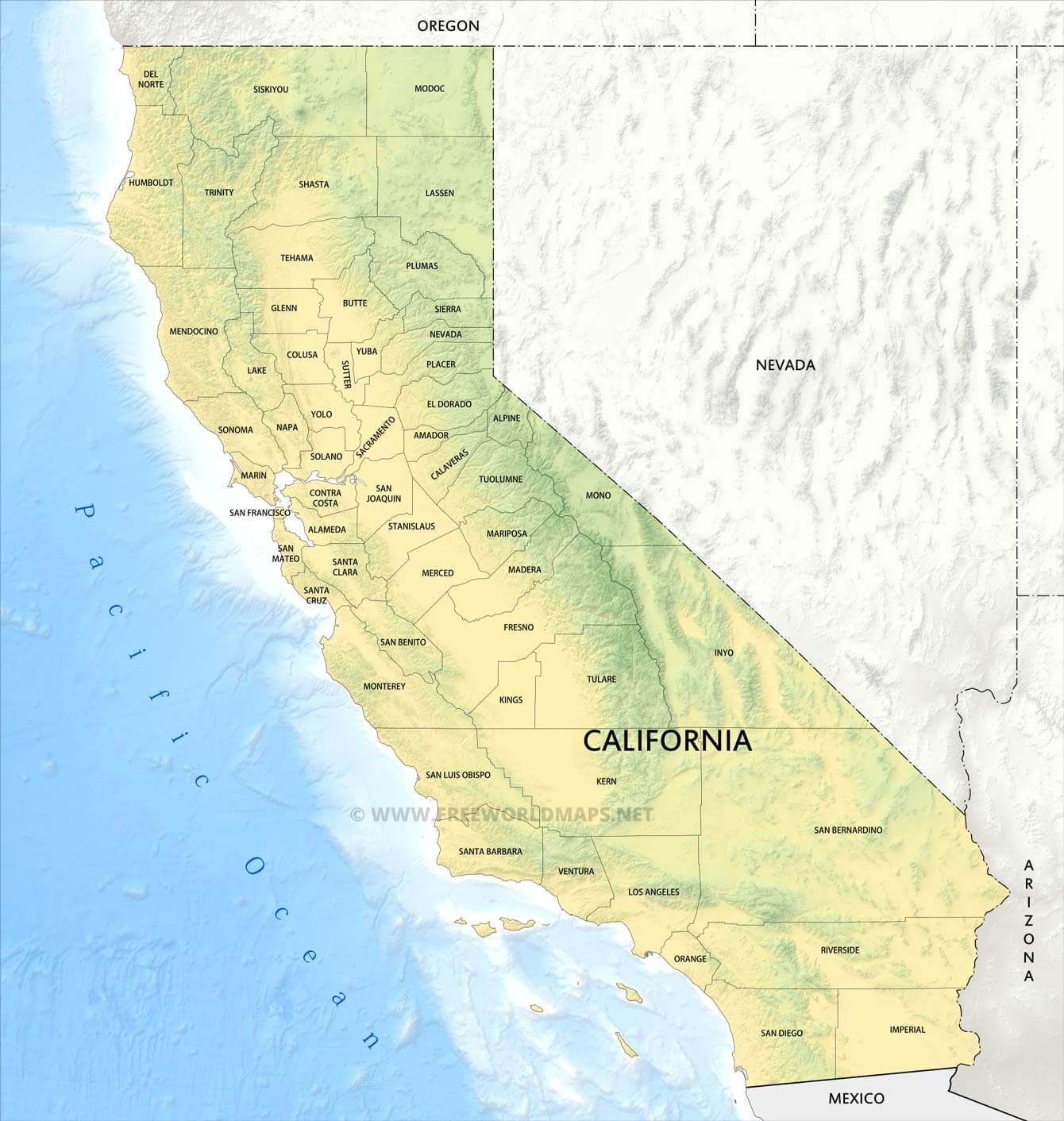 This is a picture of Printable Map of Southern California inside all city