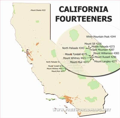 Physical map of California