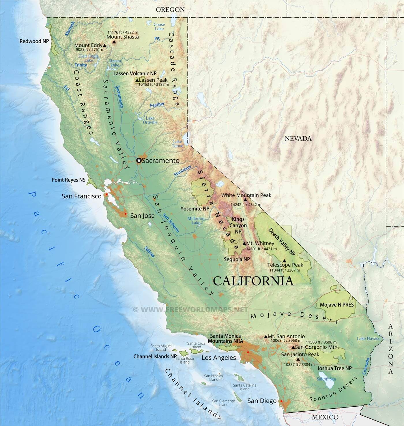 Physical Map Of California Physical map of California Physical Map Of California