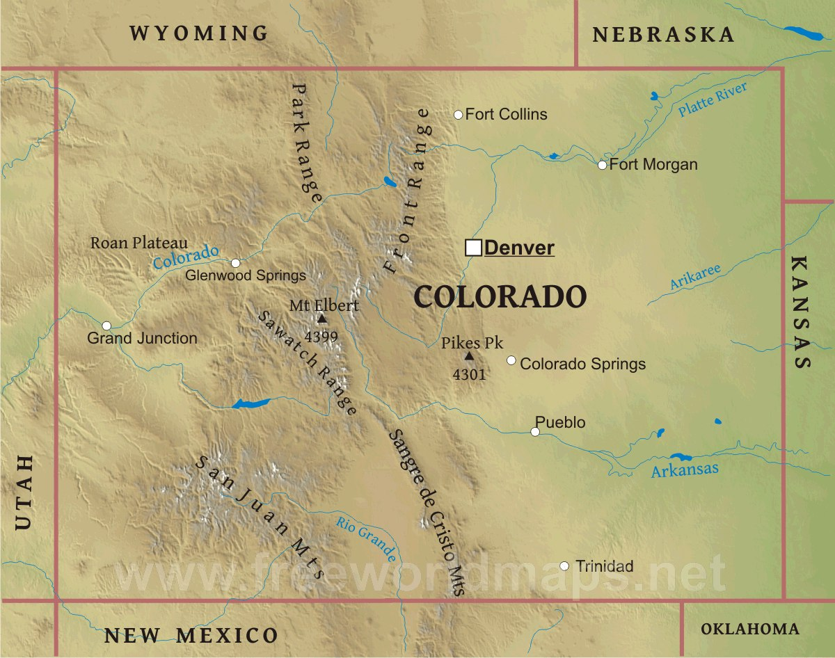 Map Of Colorado Mountain Ranges Physical map of Colorado