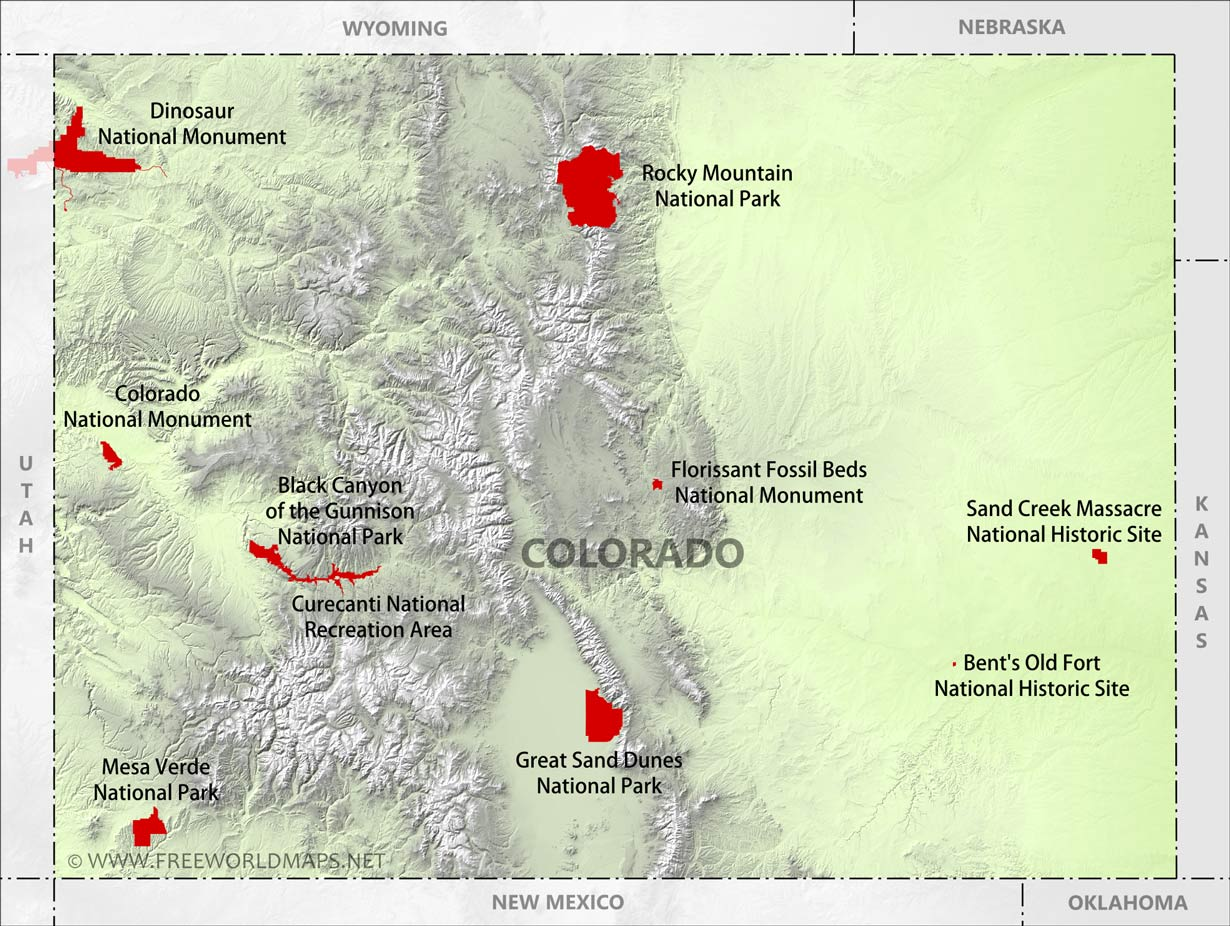 Physical map of Colorado