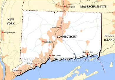 Where is Connecticut located on the map?