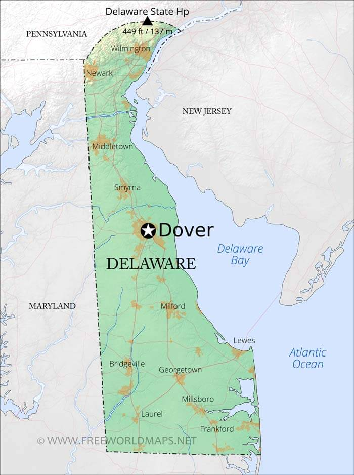 Physical map of Delaware on