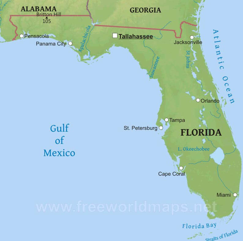 Florida On A Map.Physical Map Of Florida