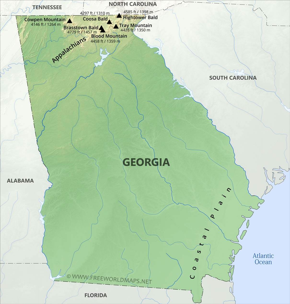 Map Of Georgia Florida And Alabama.Physical Map Of Georgia