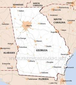 Map Of Georgia United States.Physical Map Of Georgia