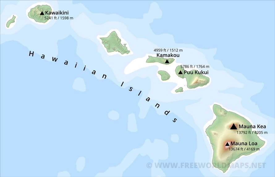 Physical map of Hawaii