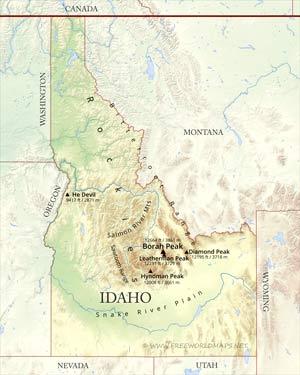 Physical map of Idaho