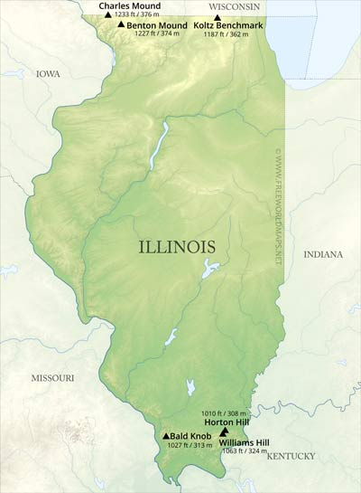 Physical Map Of Illinois - Illinois-in-us-map