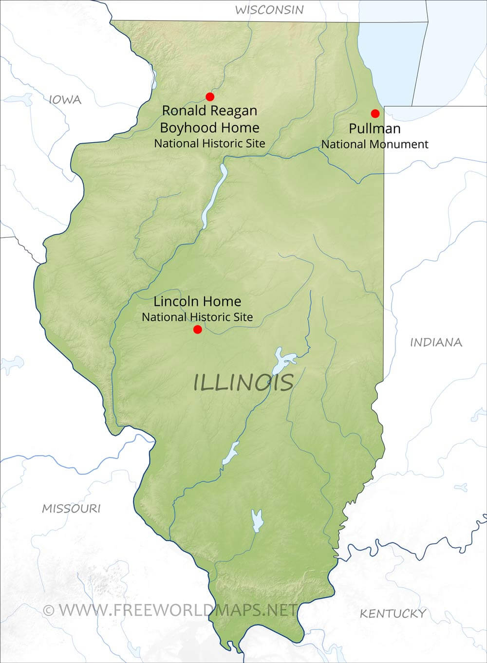 Physical Map Of Illinois