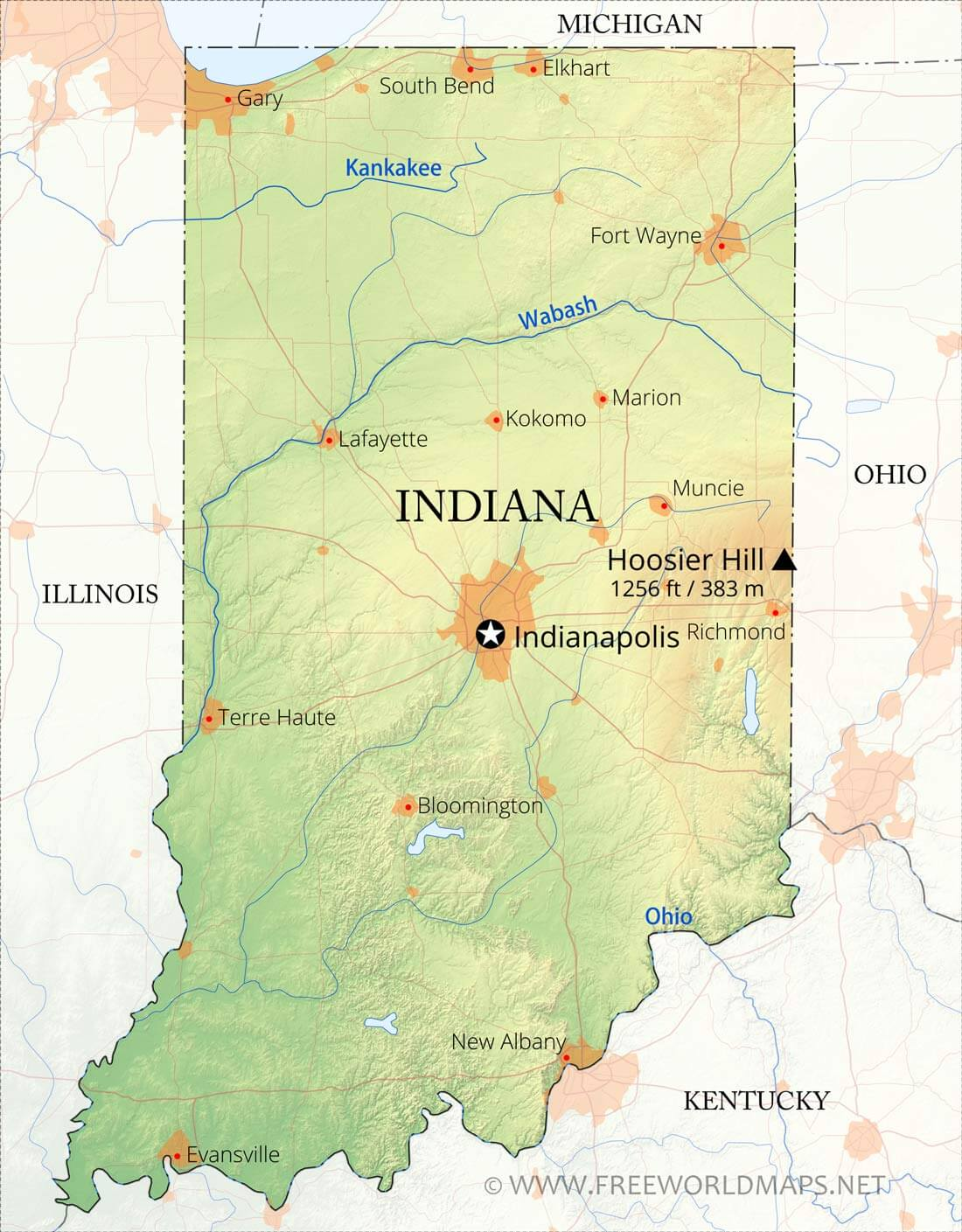 Physical map of Indiana