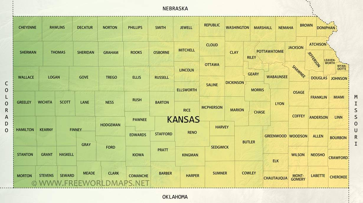 image about Kansas County Map Printable identify Bodily map of Kansas