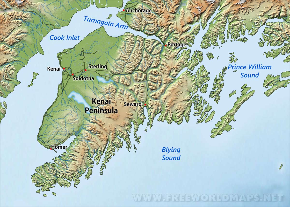 Map Of Kenai Peninsula Kenai Peninsula maps Map Of Kenai Peninsula