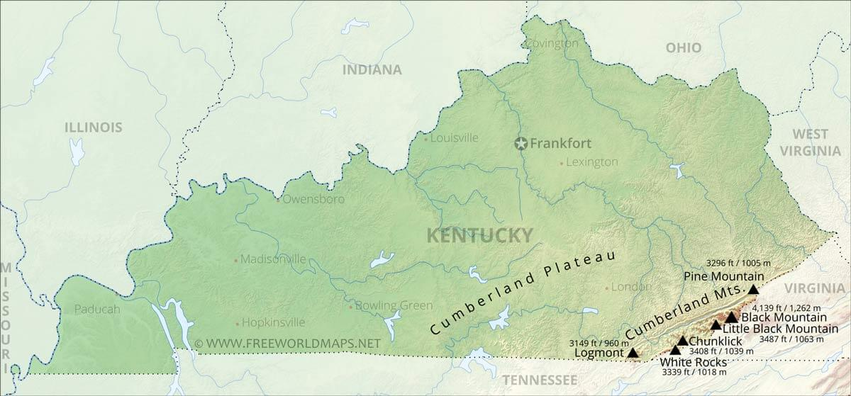 Physical map of Kentucky