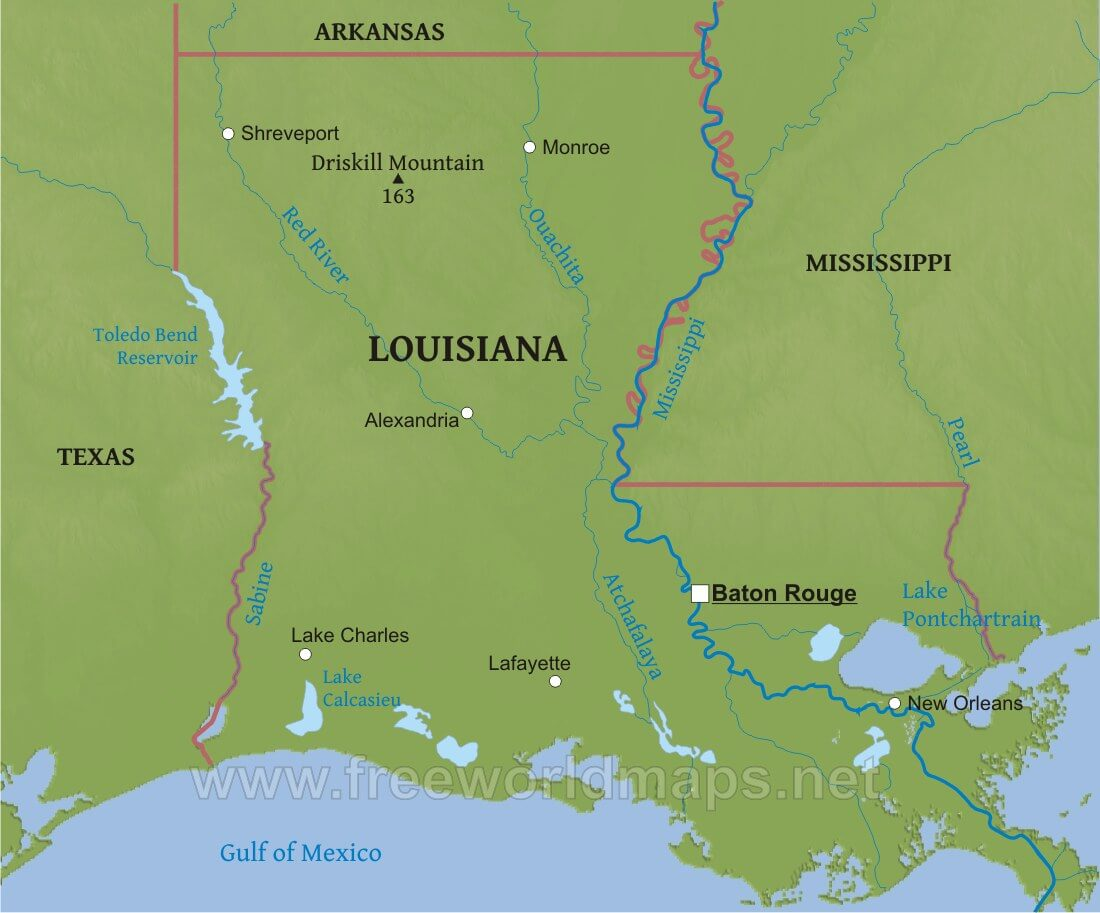 physical map of louisiana Physical Map Of Louisiana physical map of louisiana