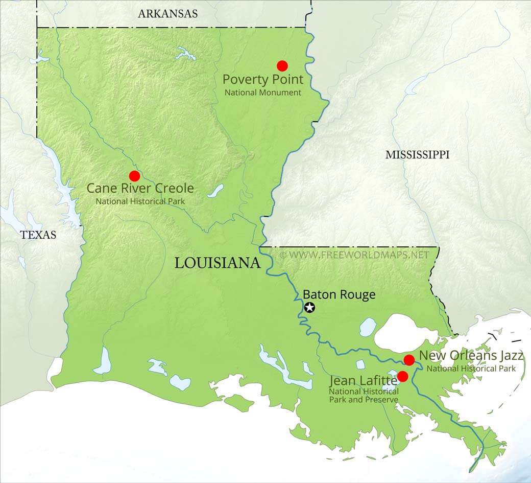 cane river louisiana map Physical Map Of Louisiana cane river louisiana map