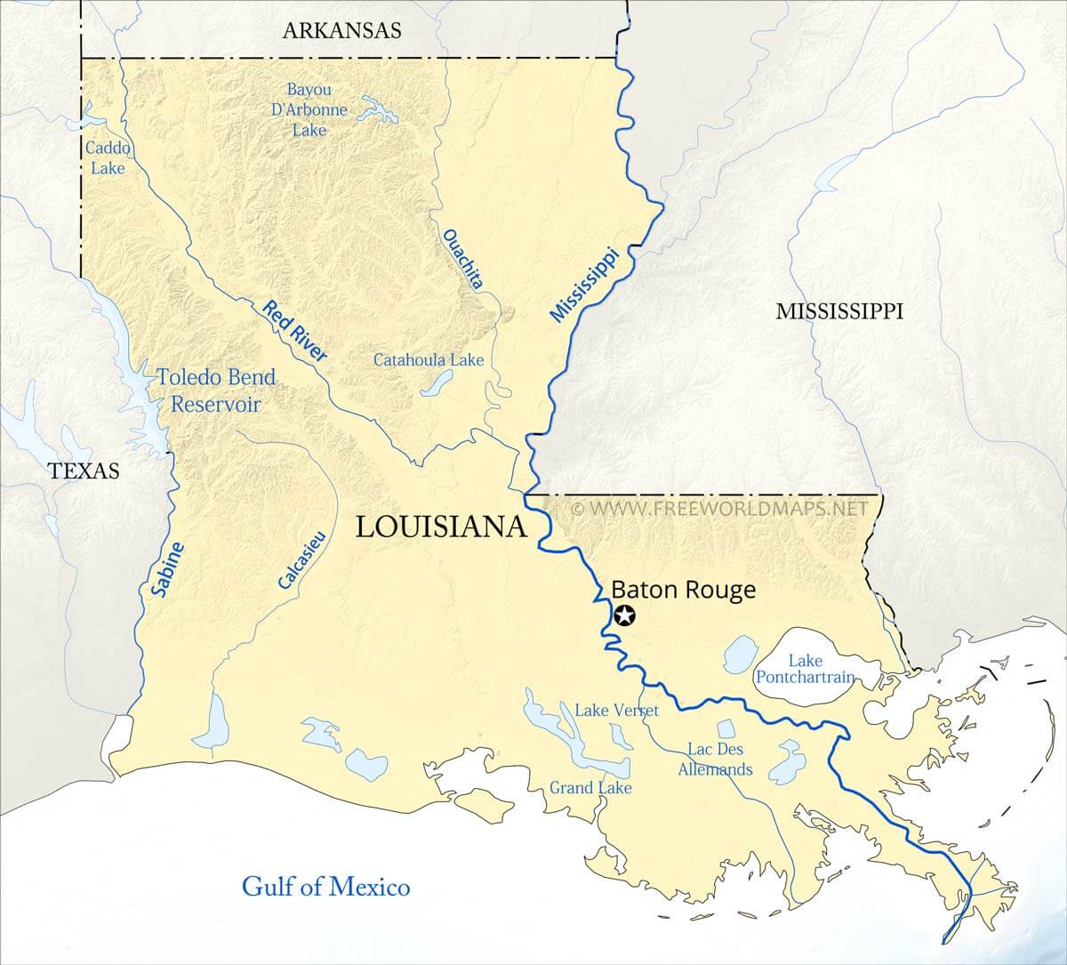 rivers of louisiana map Physical Map Of Louisiana rivers of louisiana map