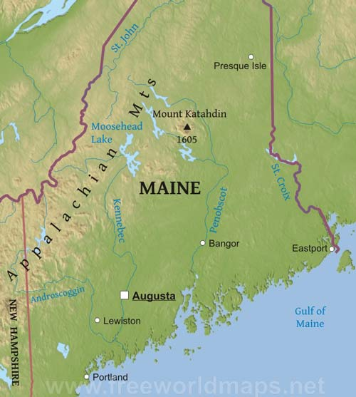 geographical map of maine Physical Map Of Maine geographical map of maine