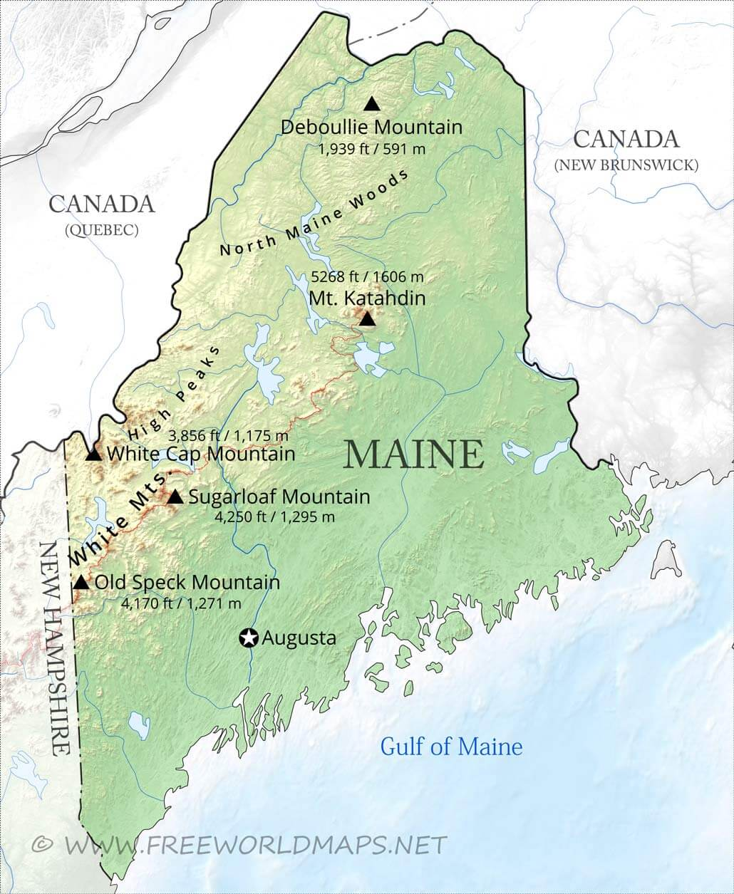 cities in maine map Physical Map Of Maine cities in maine map