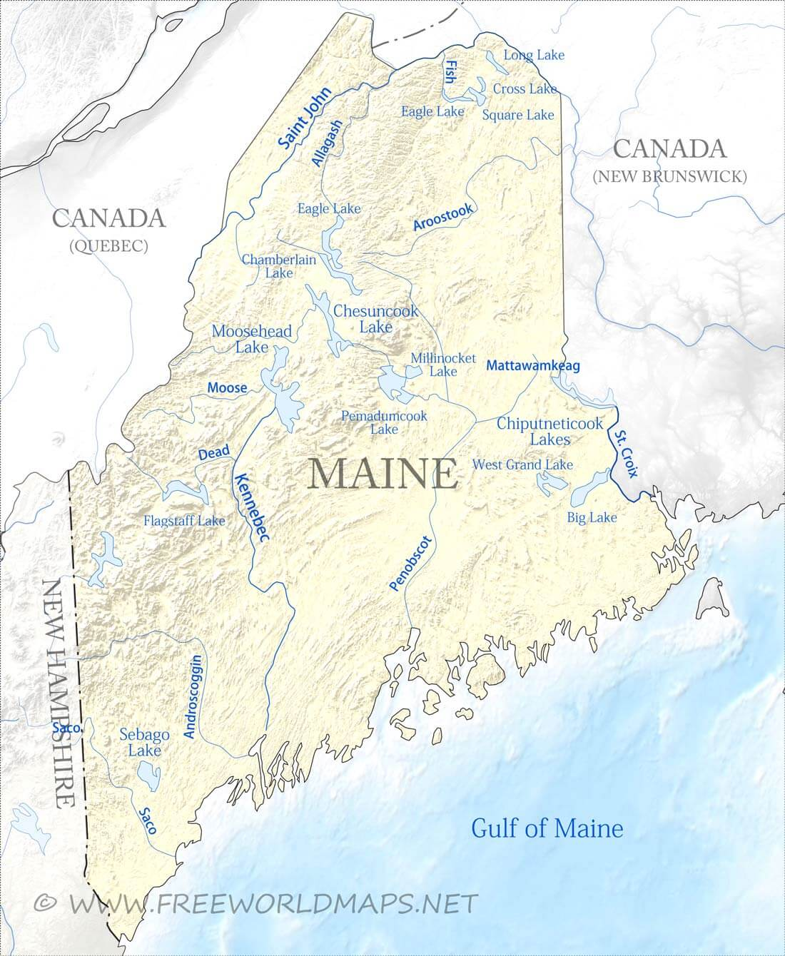 Physical map of Maine