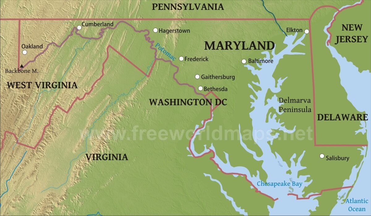 Physical map of Maryland