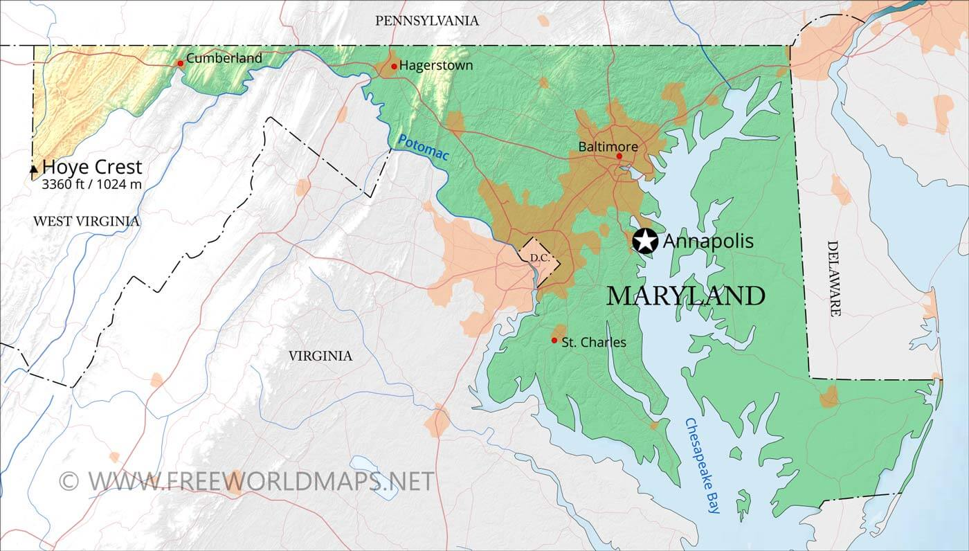 Physical map of Maryland on
