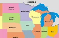 Midwestern States Map Midwest maps