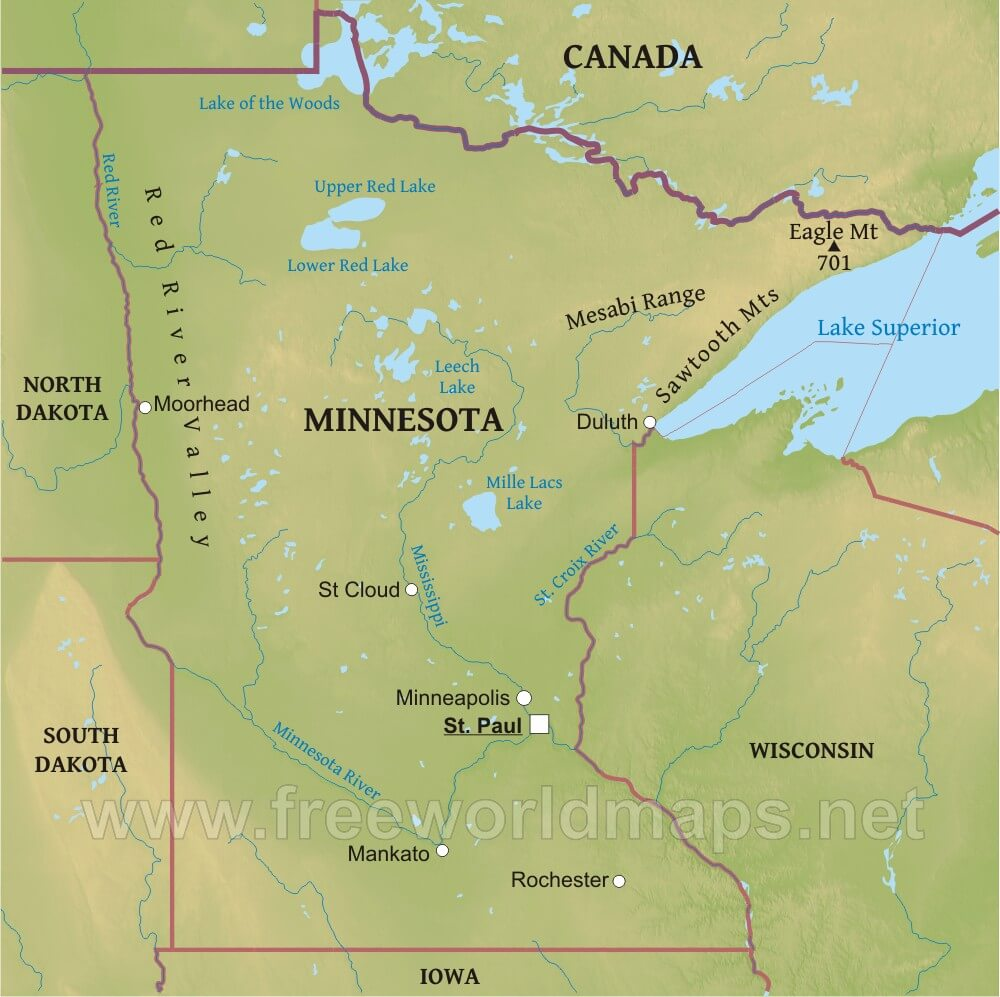 Physical map of Minnesota