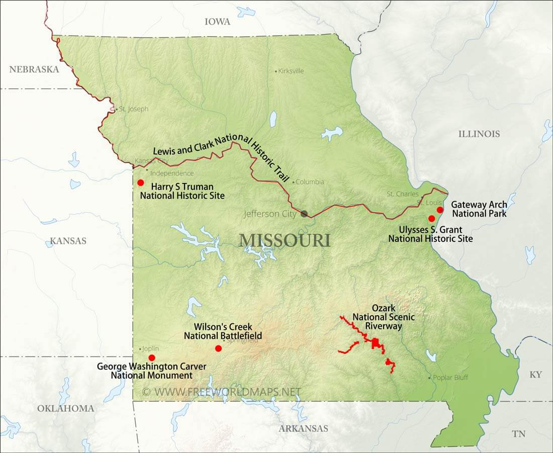 Physical map of Missouri on