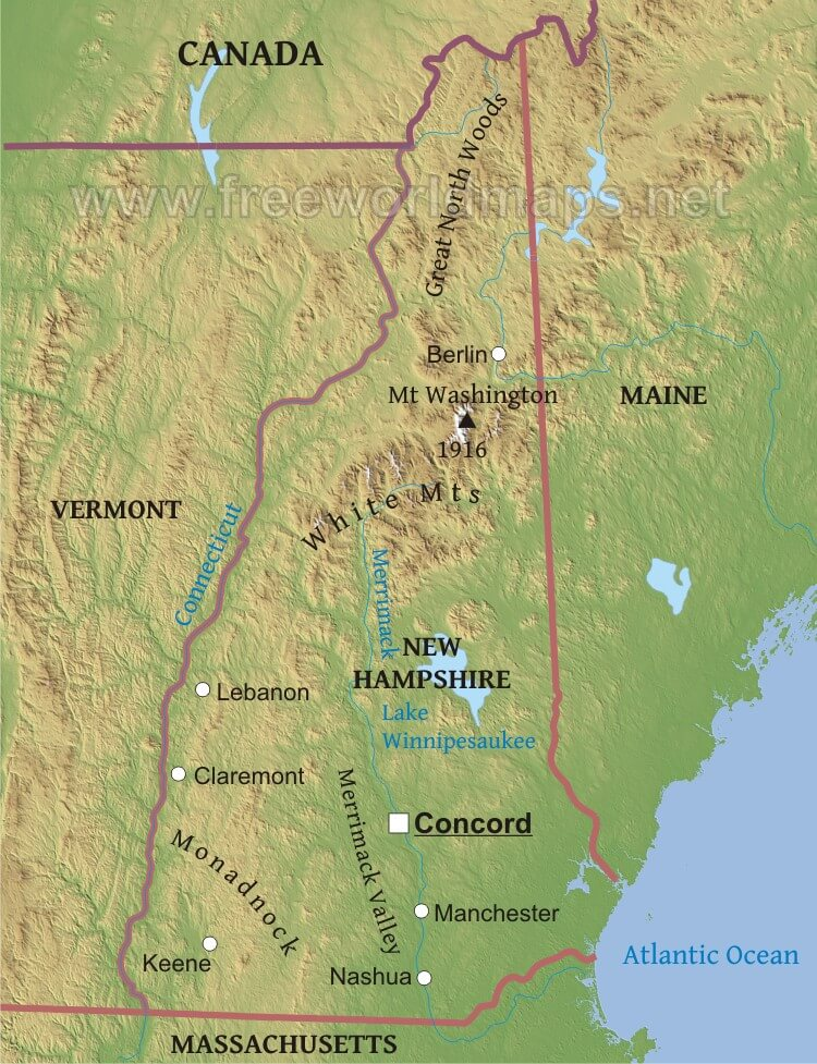 map of north hampshire Physical Map Of New Hampshire map of north hampshire
