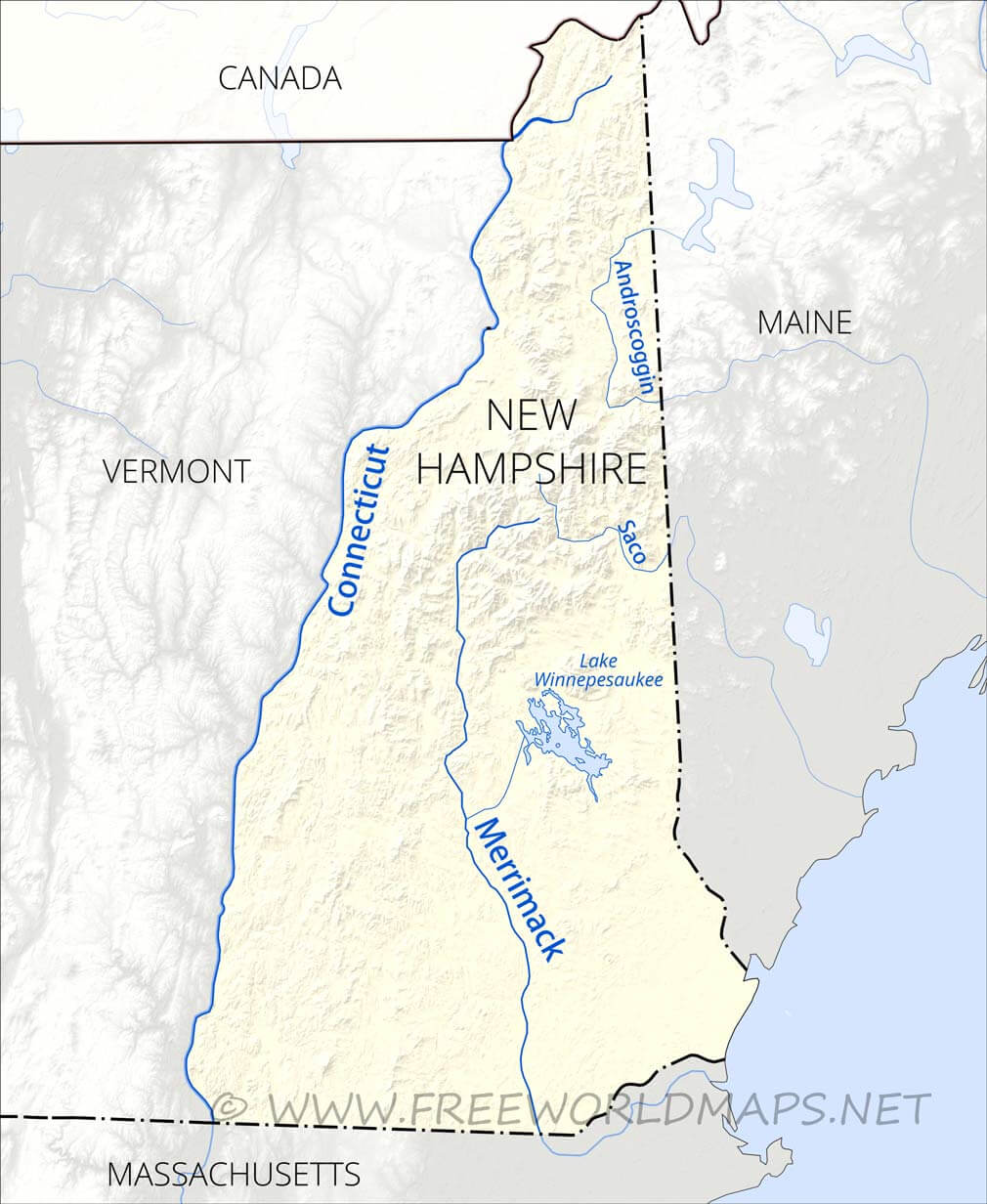 lakes in new hampshire map Physical Map Of New Hampshire lakes in new hampshire map