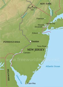 Where is New Jersey located on the map?