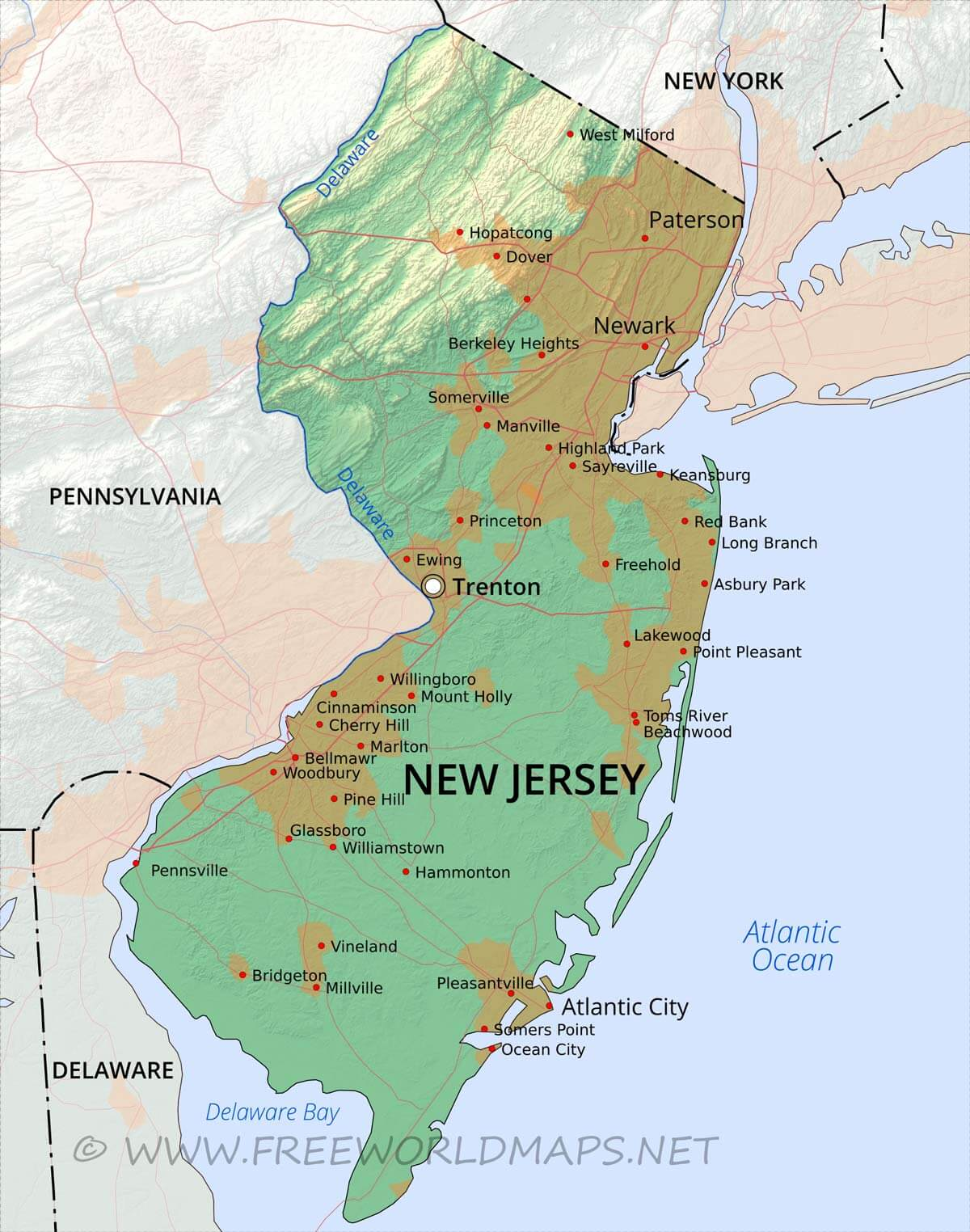 Physical map of New Jersey on