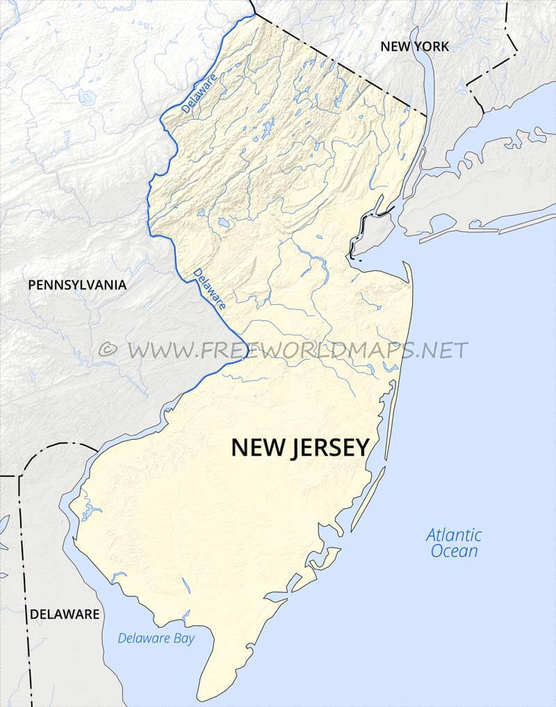 Map Of New York Pennsylvania And New Jersey.Physical Map Of New Jersey