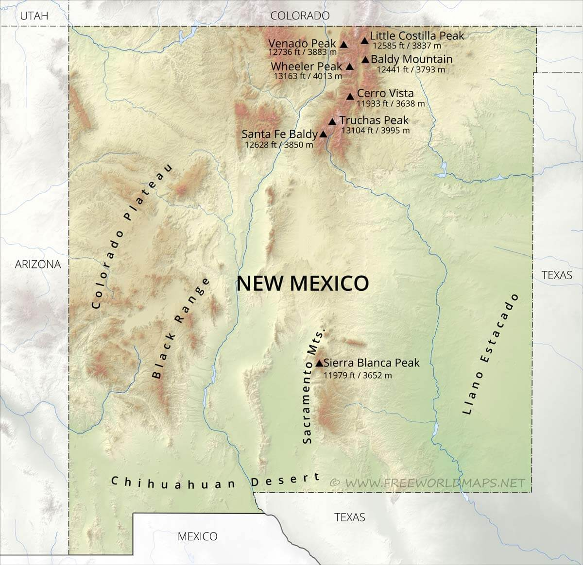 Image of: Physical Map Of New Mexico