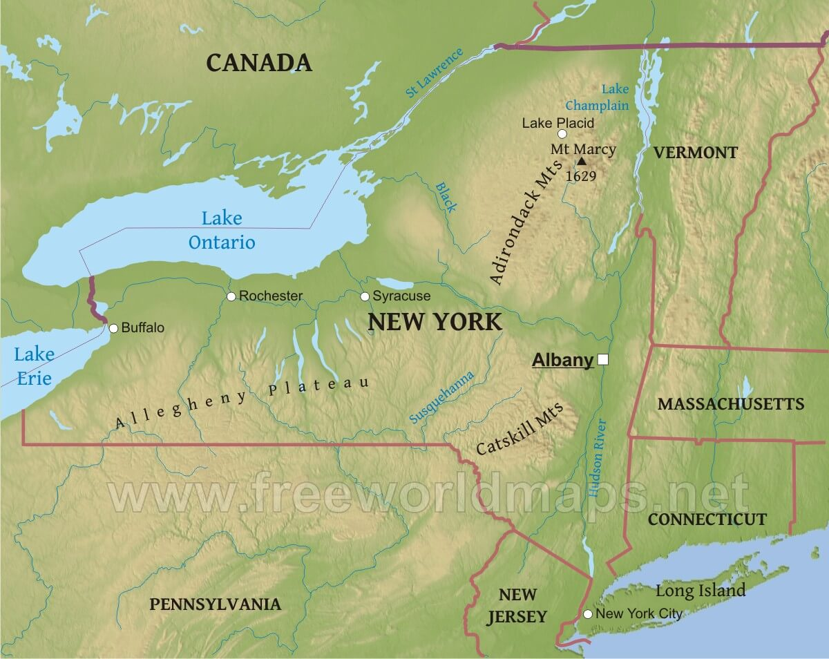 Image of: Physical Map Of New York