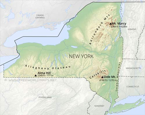 Physical map of New York