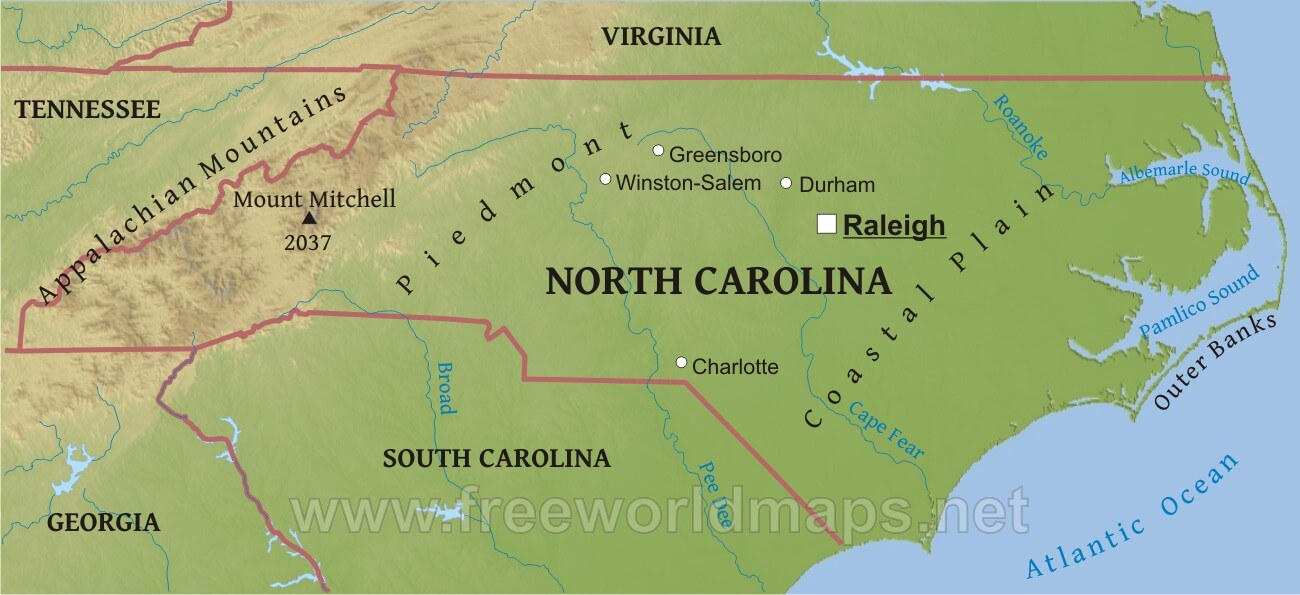 Physical map of North Carolina