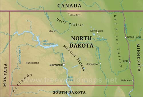Physical map of North Dakota
