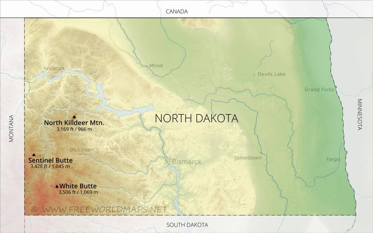 photograph about South Dakota County Map Printable identify Actual physical map of North Dakota