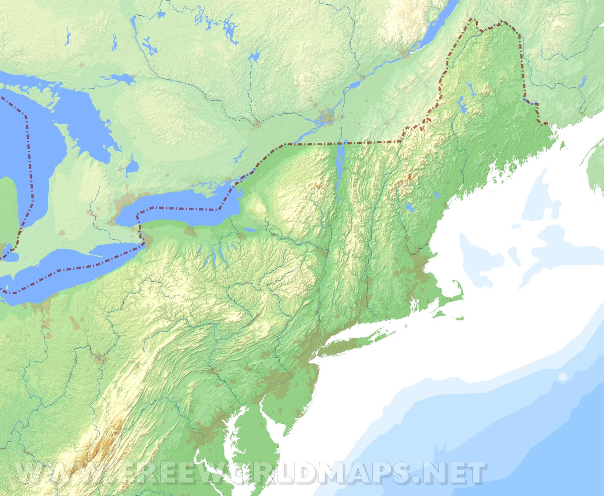 Image of: Northeastern Us Physical Map