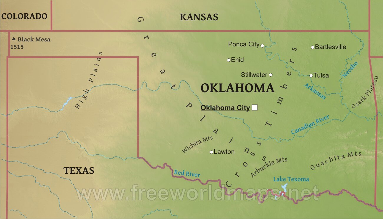 Physical map of Oklahoma on